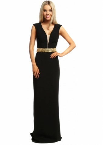 Pia Michi Black Backless Gold Crystal Belted Evening Gown