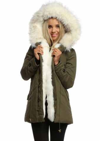 Designer Desirables Khaki Hooded Parka Lined With White Luxe Faux Fur