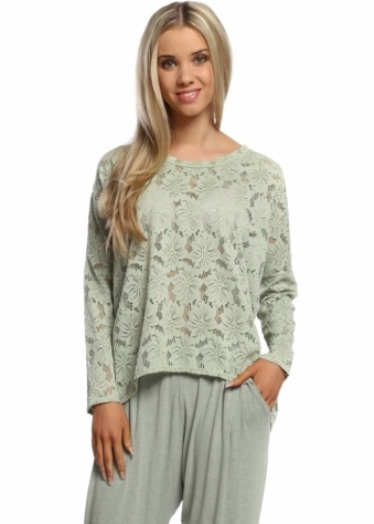 A Postcard From Brighton Lottie Green Herb Karma Lace Long Sleeved Top