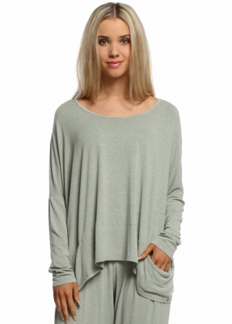 A Postcard From Brighton Green Herb Melange Pammy Slouch Jersey Top