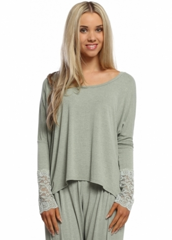 A Postcard From Brighton Eve Green Herb Melange Enchanted Lace Long Sleeved Top