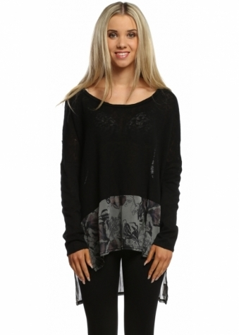 A Postcard From Brighton Dani Thunder Dark Romance Fine Knit Dip Hem Slouch Top