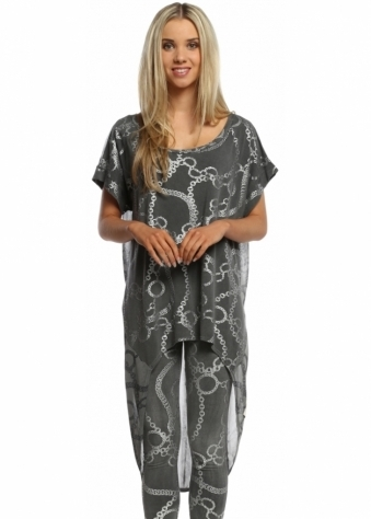 A Postcard From Brighton Cassandra Thunder Couture Chains Dip Hem Tunic Top