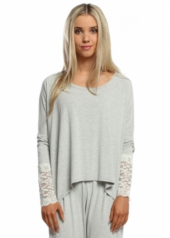 A Postcard From Brighton Eve Bone Melange Enchanted Lace Long Sleeved Top