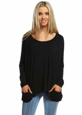A Postcard From Brighton Black Pammy Slouch Jersey Top