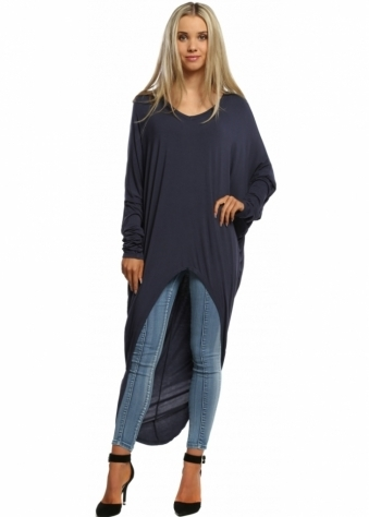 Sugar Babe Navy Blue Long Sleeved Top With Long Dip Hem Back