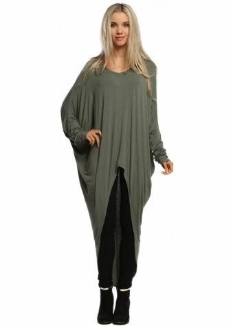 Sugar Babe Sage Green Long Sleeved Top With Long Dip Hem Back