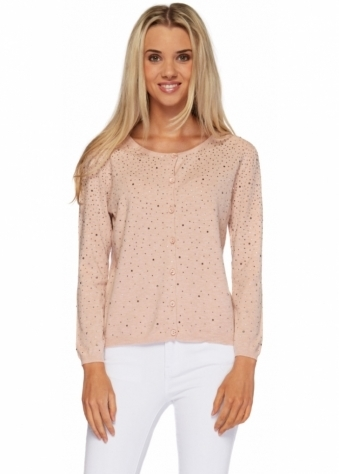 Made In Italy Pink Button Front Long Sleeved Cardigan With Crystals