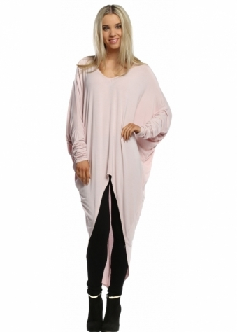 Sugar Babe Pale Pink Long Sleeved Top With Long Dip Hem Back