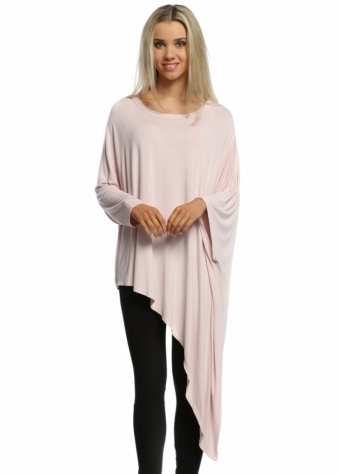 Sugar Babe Pale Pink Asymmetric Draped Top with Tie Side