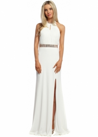 White Halterneck Rose Gold Jewelled Long Evening Dress