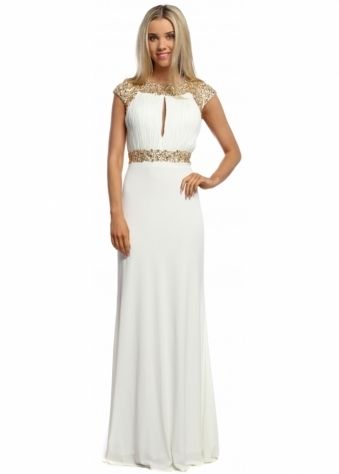 White Grecian Gold Sequinned Long Evening Dress