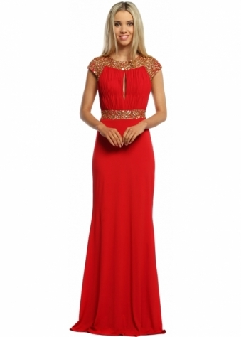 Sevelle Couture Red Grecian Gold Sequinned Long Evening Dress