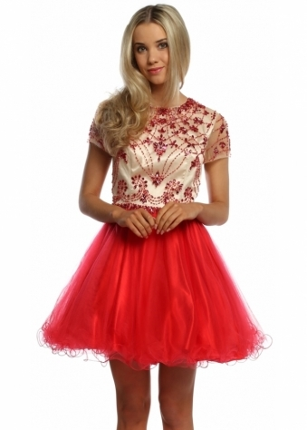 Sevelle Couture Red & Nude Crystal Adorned Prom Dress