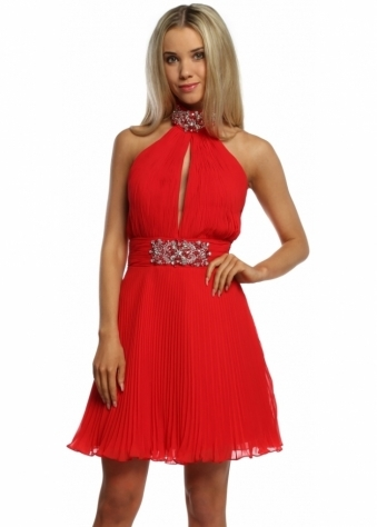 Red Pleated Marilyn Halterneck Jewelled Party Dress