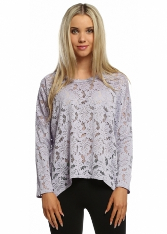 A Postcard From Brighton Lottie Glacier Lilac Karma Lace Long Sleeved Top