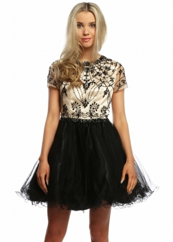 Sevelle Couture Black & Nude Crystal Adorned Prom Dress