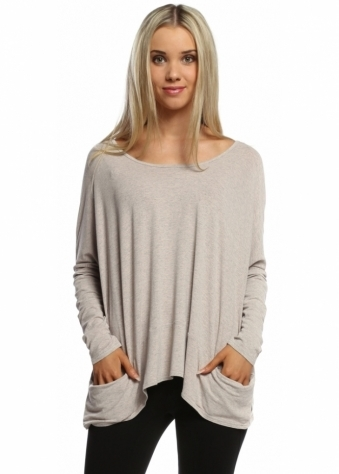 A Postcard From Brighton Fudge Melange Pammy Slouch Jersey Top