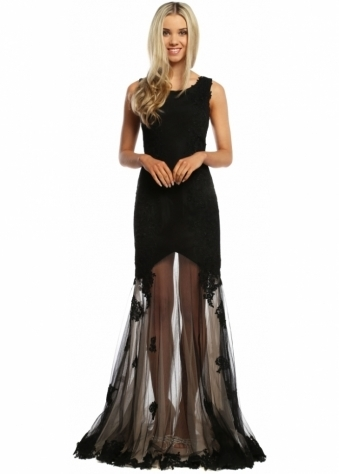 Sevelle Couture Nude & Black Lace Tulle Overlay Evening Dress