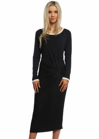 A Postcard From Brighton Connie Fudge Piped Knotted Jersey Midi Dress