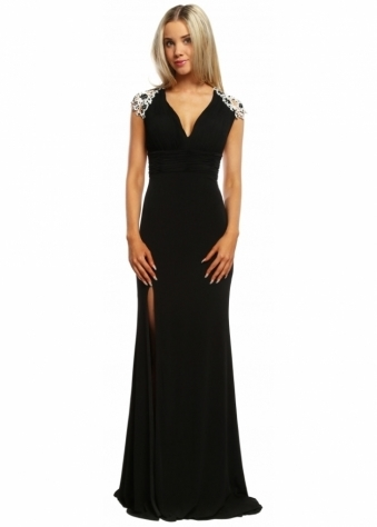 Sevelle Couture Black Sheer Back Floral Applique Jewelled Long Evening Dress
