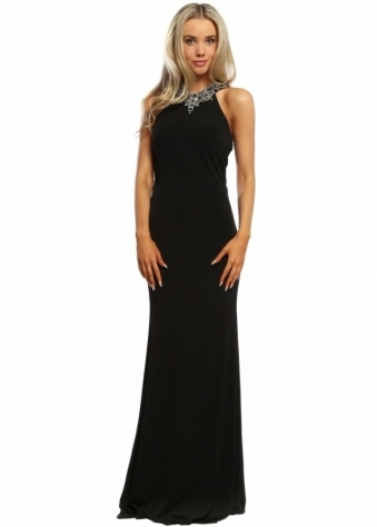 Sevelle Couture Black Crystal Adorned Halterneck Long Evening Dress