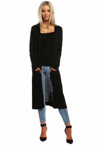 Designer Desirables Black Soft Knit Button Front Long Cardigan