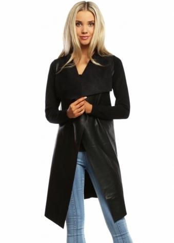 Laetitia Mem Black Faux Leather Waterfall Silky Long Cardigan