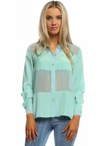 Mint Green Chiffon Sheer Shirt