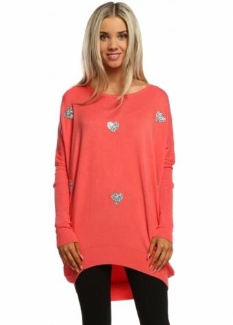 Laetitia Mem Coral Crush Diamonte & Stud Sparkling Heart Oversized Jumper