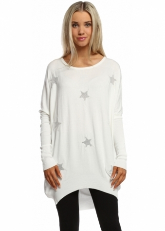 Laetitia Mem White Mesh Stars Oversized Jumper