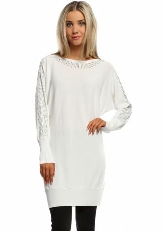Laetitia Mem White Sparkling Studded Crepe Tunic Jumper