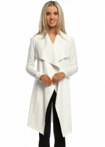 Laetitia Mem White Faux Leather Waterfall Silky Long Cardigan