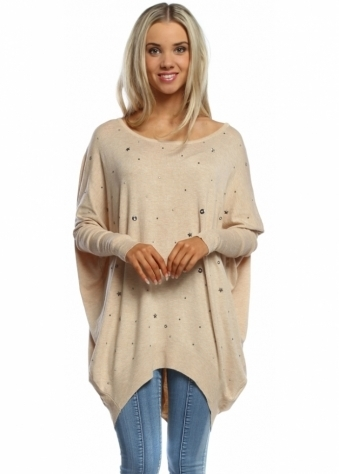 Laetitia Mem Beige Stars & Studs Button Back Jumper