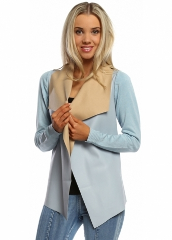 Sky Blue Faux Leather Waterfall Silky Short Cardigan