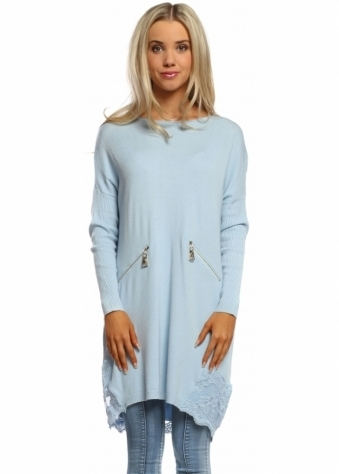 Laetitia Mem Sky Blue Zip Lace Hem Oversized Tunic Jumper