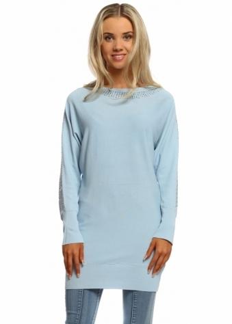 Laetitia Mem Sky Blue Sparkling Studded Crepe Tunic Jumper