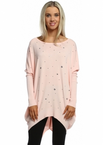 Laetitia Mem Baby Pink Stars & Studs Button Back Jumper