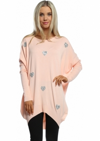Laetitia Mem Baby Pink Diamonte & Stud Sparkling Heart Oversized Jumper