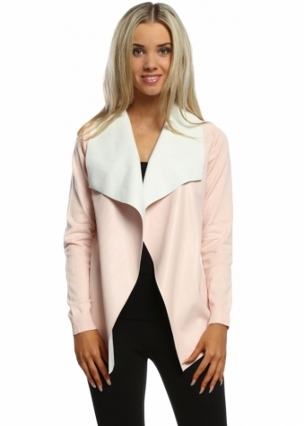 Laetitia Mem Baby Pink Faux Leather Waterfall Silky Short Cardigan