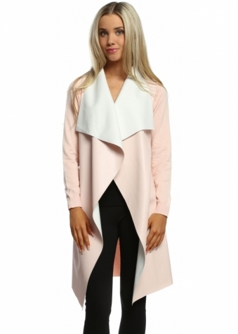 Laetitia Mem Baby Pink Faux Leather Waterfall Silky Long Cardigan