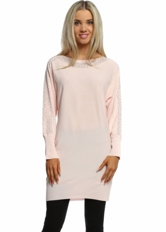 Laetitia Mem Baby Pink Sparkling Studded Crepe Tunic Jumper