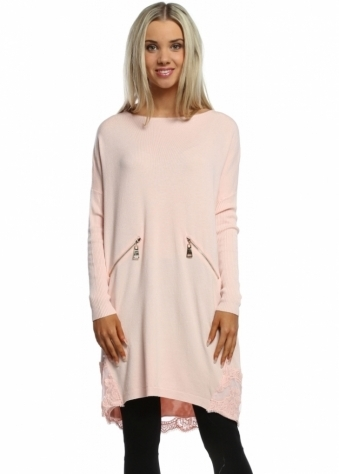 Laetitia Mem Baby Pink Zip Lace Hem Oversized Tunic Jumper