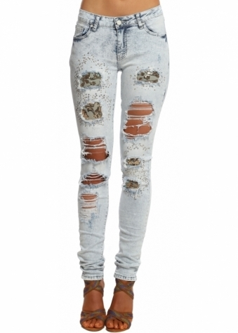 Distressed Sequin Mesh Studded Ripped Skinny Jeans
