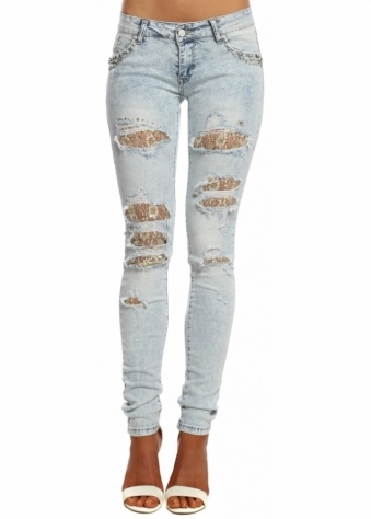 Faded Blue Gold Lace Ripped Jewel Pocket Skinny Jeans