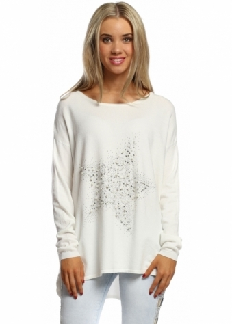 Made In Italy Scattered Pearls & Studded Star White Jumper