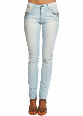 Designer Desirables Faded Blue Denim Jewelled Pockets Skinny Jeans