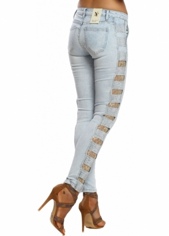 Light Blue Stretch Fit Gold Sequinned Lace Ladder Side Jeans