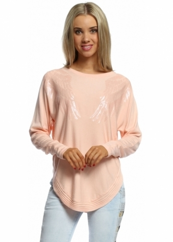 Laetitia Mem Apricot Sequinned Angel Wings Ribbed Side Jumper