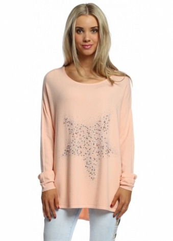 Made In Italy Scattered Pearls & Studded Star Apricot Jumper